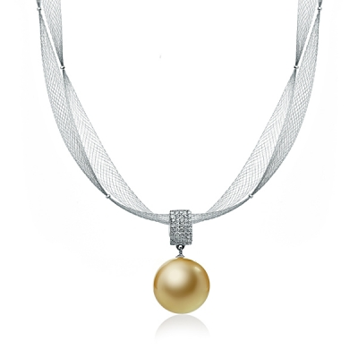 Necklace with South sea golden pearl. Код 1256